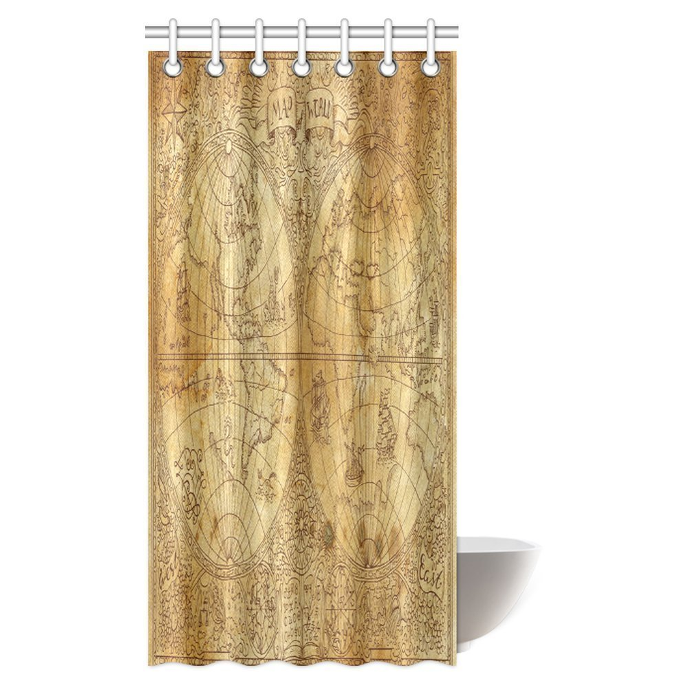 Gckg Antique Decor Shower Curtain Ancient Map Of World Global