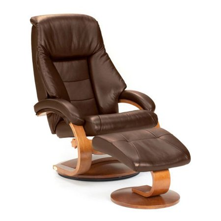 MAC Motion Oslo Collection Top Grain Leather Swivel Recliner with Ottoman