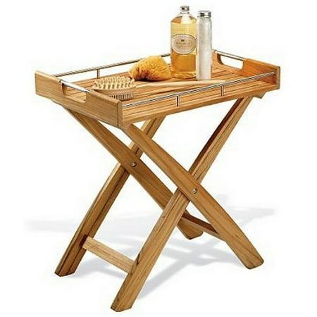 WholesaleTeak Grade A Teak Wood Butler Tray / Side Table #WMAXBT