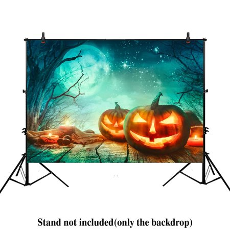 GreenDecor Polyster 7x5ft photography backdrop background horror Spooky Halloween moon night forest dead trees pumpkins props photo studio booth (Spooky Halloween Forest Backgrounds)