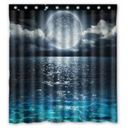 PHFZK Ocean Landscape Shower Curtain, Romantic Panorama with Full Moon on Sea Polyester Fabric Bathroom Shower Curtain 66x72 inches