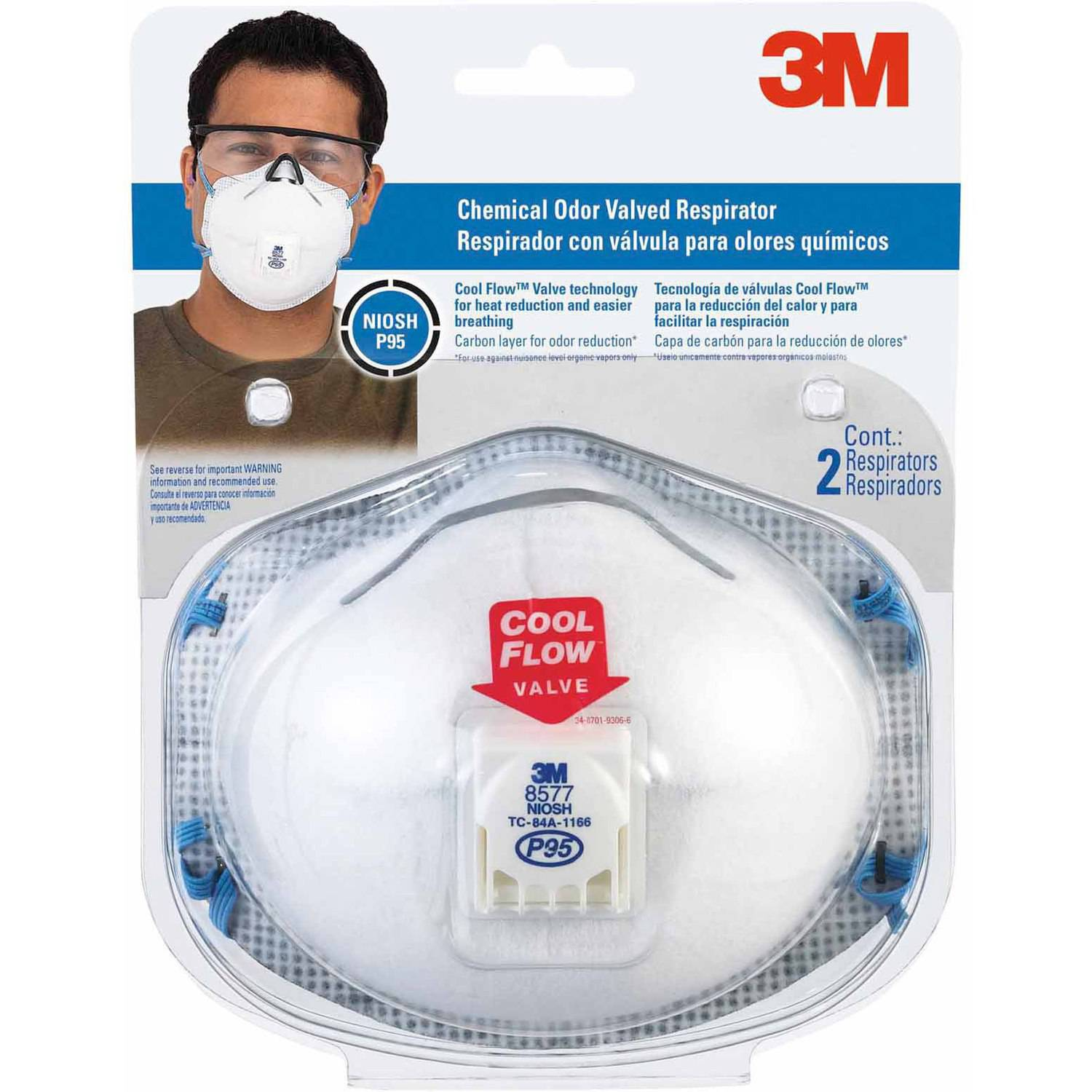 3M Chemical Odor Valved Respirator, 2 Pack