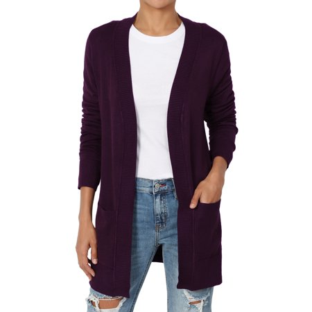db1a3969fe77fd TheMogan Women's S~3X Dual Pocket Longline Open Front Knit Sweater Cardigan  - Walmart.com