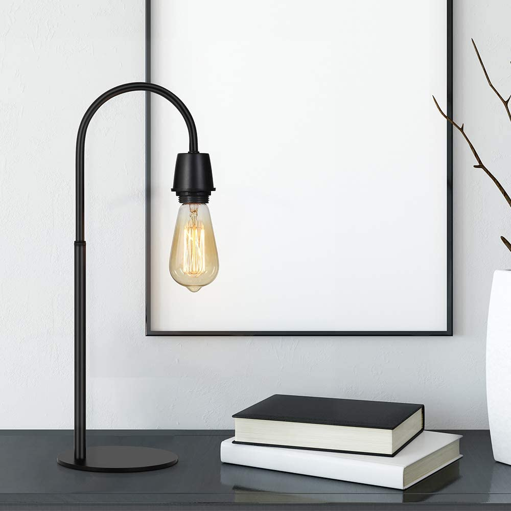 Nightstand Black Edison Desk Lamp Bedroom Coffee Table Dressers in Dorm Room Industrial Table Lamp Small Metal Lamps for Bedside Office