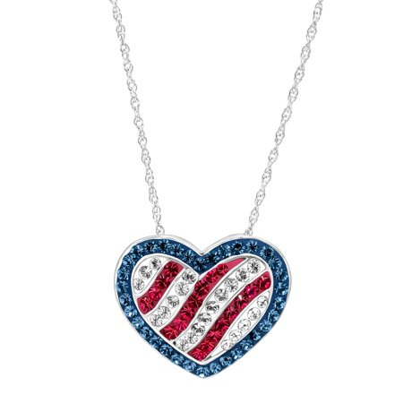 Swarovski Crystal Star Pendant (American Flag Pendant Necklace with Swarovski Crystals in Sterling Silver)