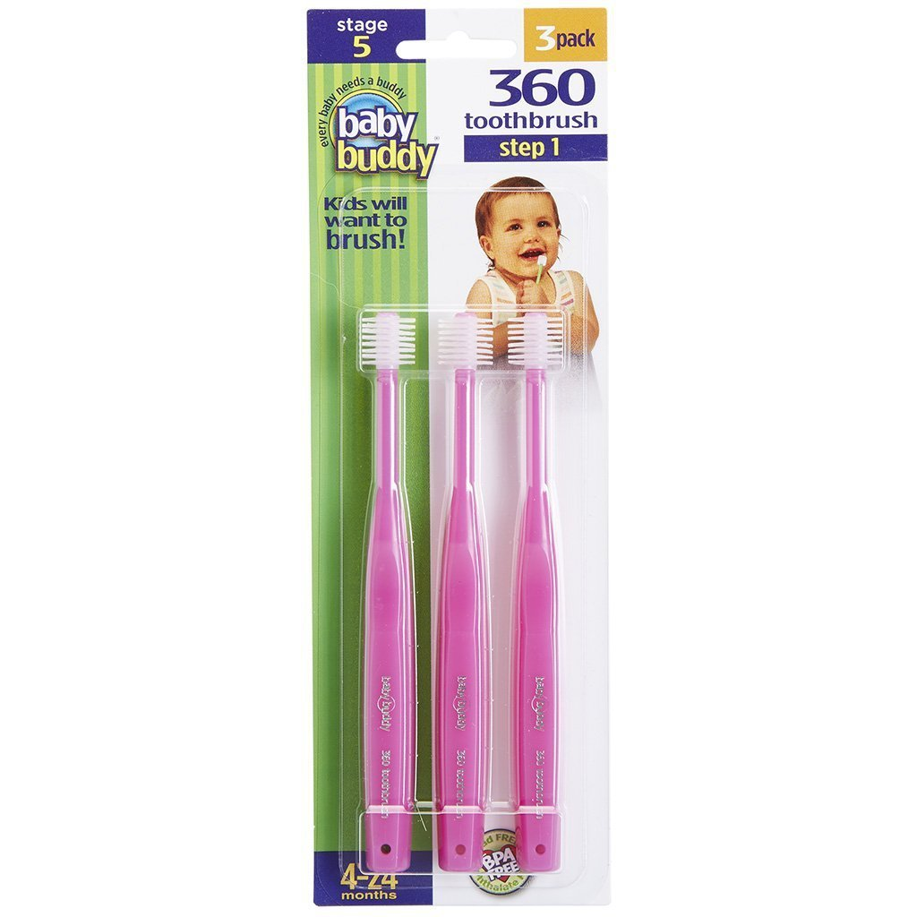 Baby Buddy 360 Toothbrush Step 1 Stage 5 for Babies/Toddlers , Kids Love Them, Pink, 3 Count