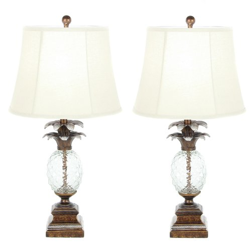 urban designs pineapple glass table lamp set - Pineapple Lamp
