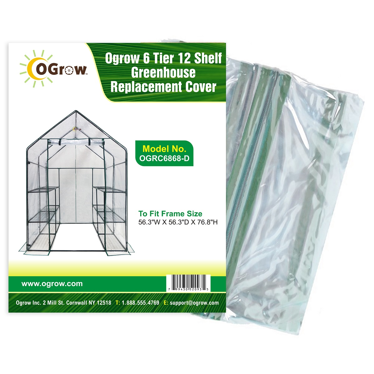 "6 Tier 12 Shelf Greenhouse Replacement Cover To Fit Frame Size 56.3""W X 56.3""D X 76.8""H by KSH Brands"