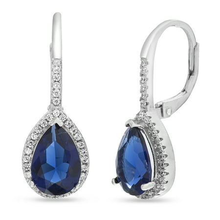 - Inspired by You Pear and Round Shaped Prong Set Simulated Blue Sapphire and Cubic Zirconia Drop Dangle Bridal Leverback Halo Earring for Women in Rhodium Plated 925 Sterling Silver