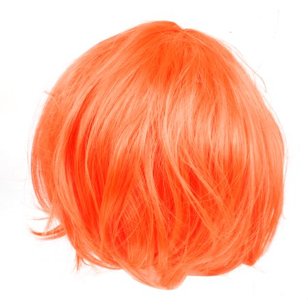 Unique Bargains Costume Short Straight Hairpiece Flat Bangs Hair Full Wig Orange Red for Woman](Nicki Minaj Wig For Sale)