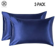 Luxtrada Set of 2 Solid Color Pillowcases Pillow Cover for Home Bedroom Hotel Travel (Queen Size,Navy blue)
