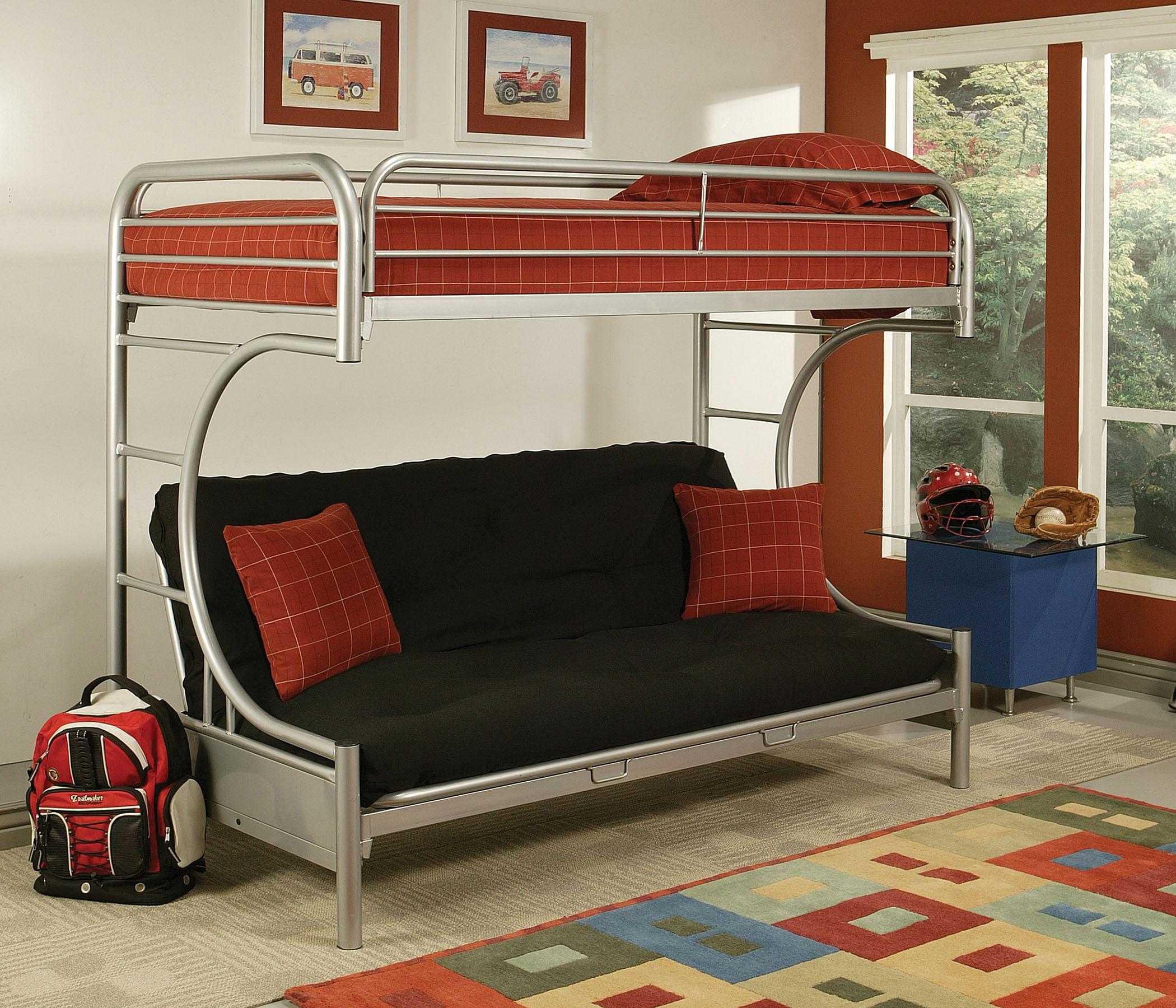 Homeroots Twin Xl Queen Futon Bunk Bed Silver Metal Tube Walmart Com