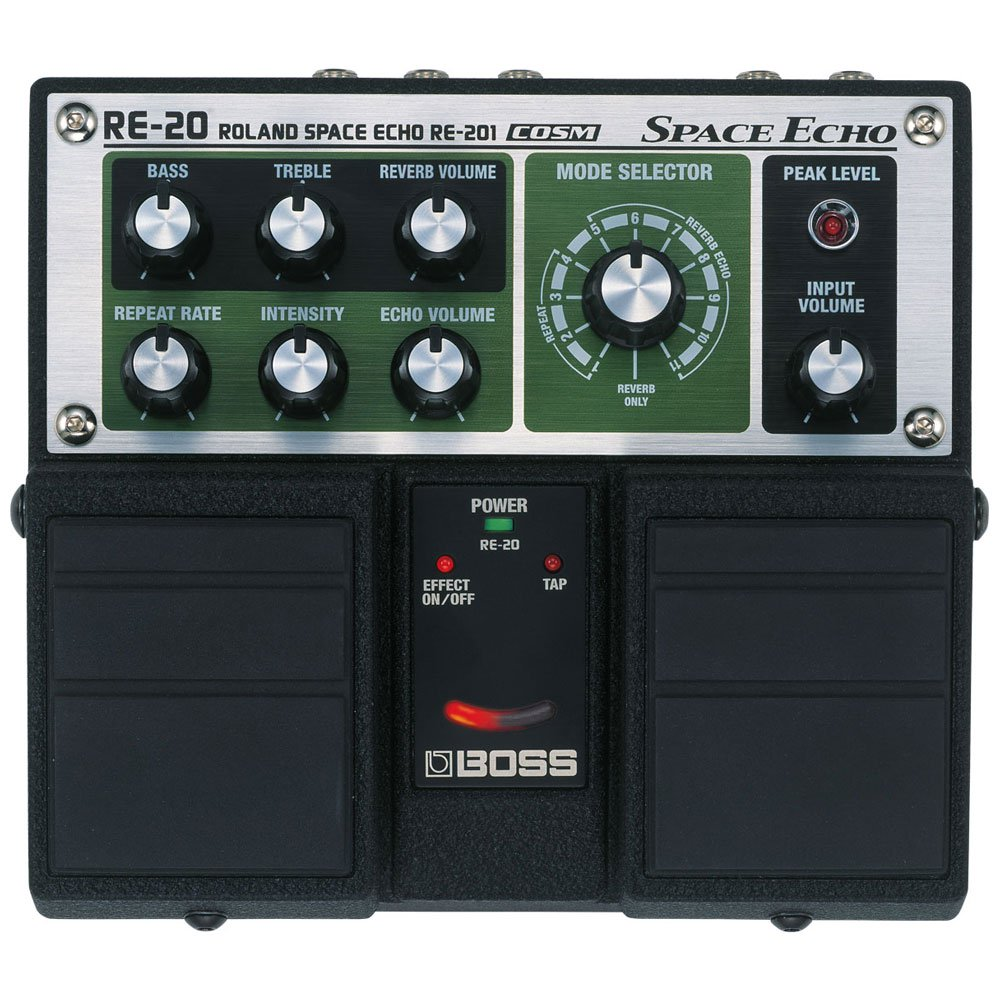 Boss RE-20 Space Echo Battery Powered Guitar Reverb Delay Effects Pedal, Green