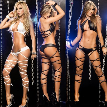 Sell Well Black and White Sexy Mesh Underwear Bikini Bra Set for Women Lady Lingerie Sleepwear Night Club ()