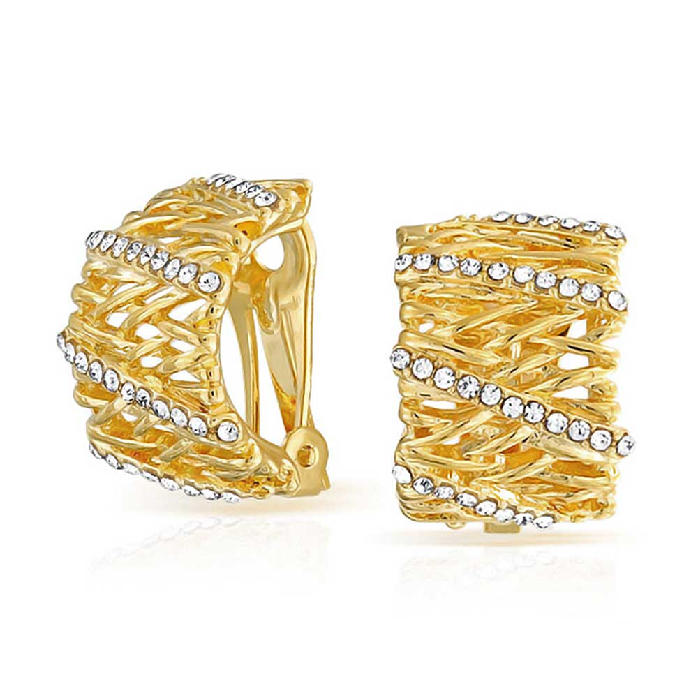 Bling Jewelry Gold Plated Half Hoop CZ Open Basket Weave Clip On Earrings