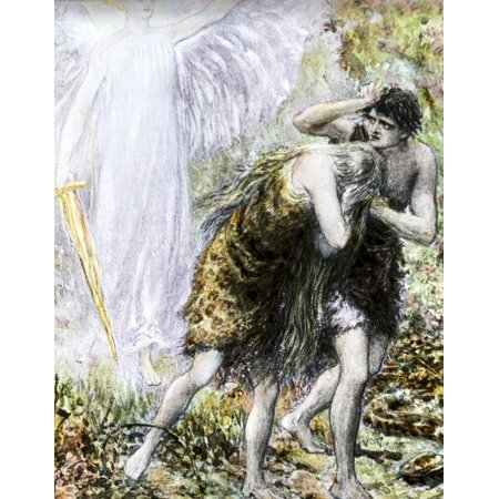 A Hand Coloured Magic Lantern Slide Circa 1900. Adam And Eve Turned Out Of The Garden Of Eden. Fear And Regret As They Rush Out Of The Garden Poster Print by John Short / Design Pics Teamson Design Magic Garden