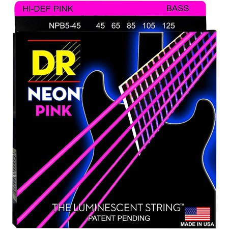 DR Strings NEON Hi-Def Pink Bass SuperStrings Medium