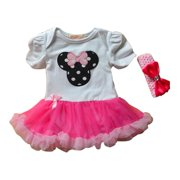 Little Girls Pink Lap Shoulders Mouse Applique Tutu Dress 3T