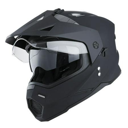1Storm Dual Sports Motorcycle Motocross Helmet Dual Visor Helmet Racing Style HF802; Matt Black (Camera Helmet Motocross)