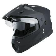 1Storm Dual Sports Motorcycle Motocross Helmet Dual Visor Helmet Racing Style HF802; Matt Black