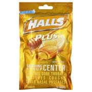 Halls Plus Drops, Honey Lemon, 25 Ct