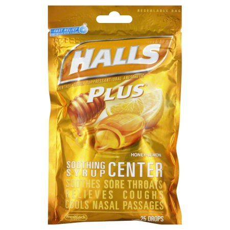 Halls Plus Drops, Honey Lemon, 25 Ct