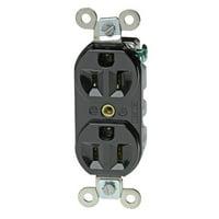 Woodhead 5262DWW Safeway Duplex Receptacle, Industrial Duty, Straight Blade, 2 Poles, 3 Wires, NEMA 5-15 Configuration, White, 15A Current, 125V Voltage
