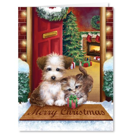 Puppy and Kitten Christmas Card Set of 20](Christmas Cards To Color)