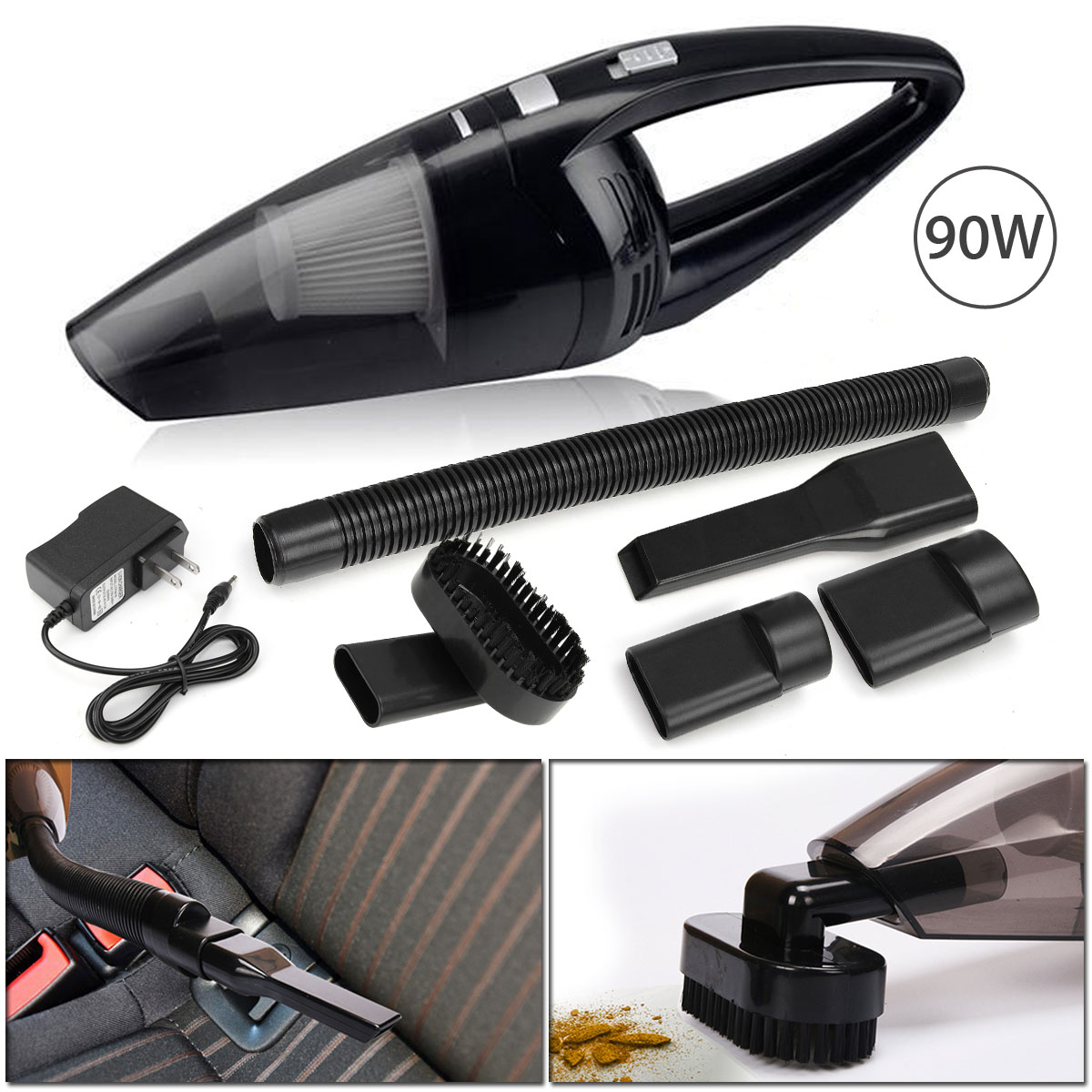 Portable Car Vacuum Cleaner 90W 7.4V Cordless Handheld Cyclonic Car Vacuum Cleaner Wet/Dry Duster Dirt Collector