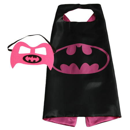 Batgirl Superhero Cape and Mask for Girls, Costume for Kids Birthday Party, Favors, Pretend Play, Dress Up Favors, Christmas - Easy Super Hero Costumes