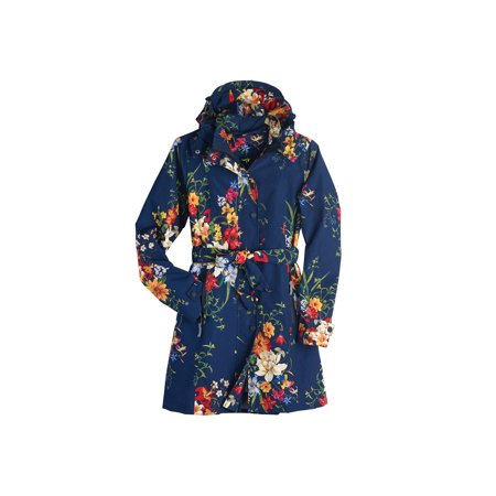 Shawl Collar Belted Jacket (Women's Floral Rain Jacket with Detachable Hood - Belted, Zip-Front Lined)