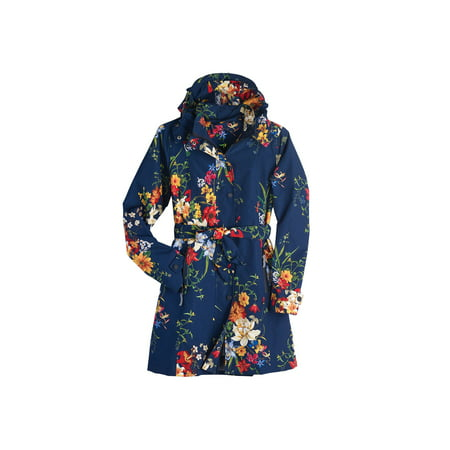 Women's Floral Rain Jacket with Detachable Hood - Belted, Zip-Front Lined Coat ()