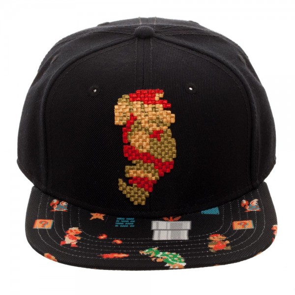 Baseball Cap - Mario - 8Bit Sublimated Bill Snapback New sb4yhasms
