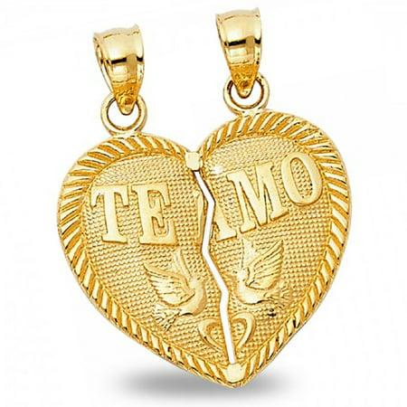 Heart Te Amo Love Birds Pendant Solid 14k Yellow Gold Breakable Heart Charm Two Piece 20 x 20 mm