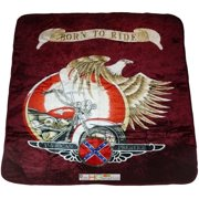 79x94 American Motorcycle Harley Davidson Indian Soft Plush Faux Mink Queen Blanket