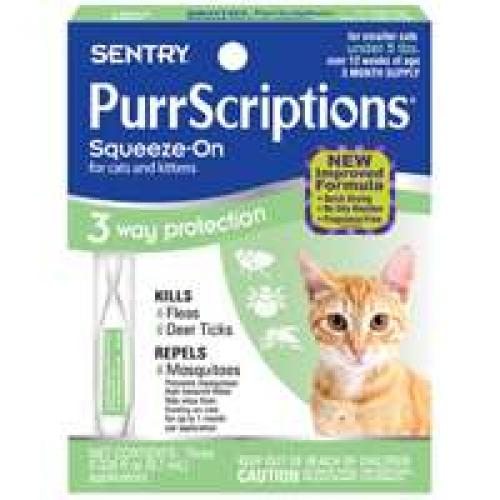 Sentry PurrScriptions Flea and Tick Squeeze-On Cat Under 5-Pound