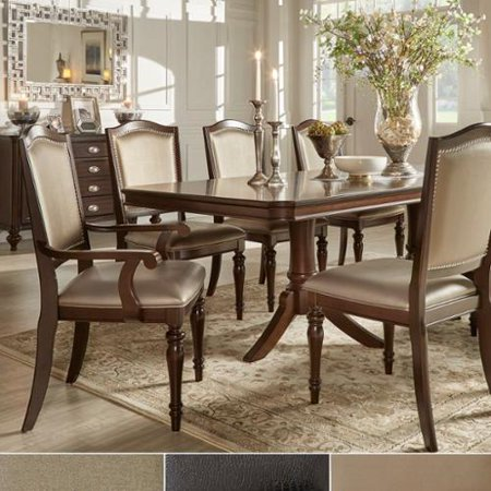 TRIBECCA HOME 'LaSalle' Espresso Pedestal Extending Table Dining Set [7-Piece]- Brown Fabric- 4 Side + 2 Arm Chairs