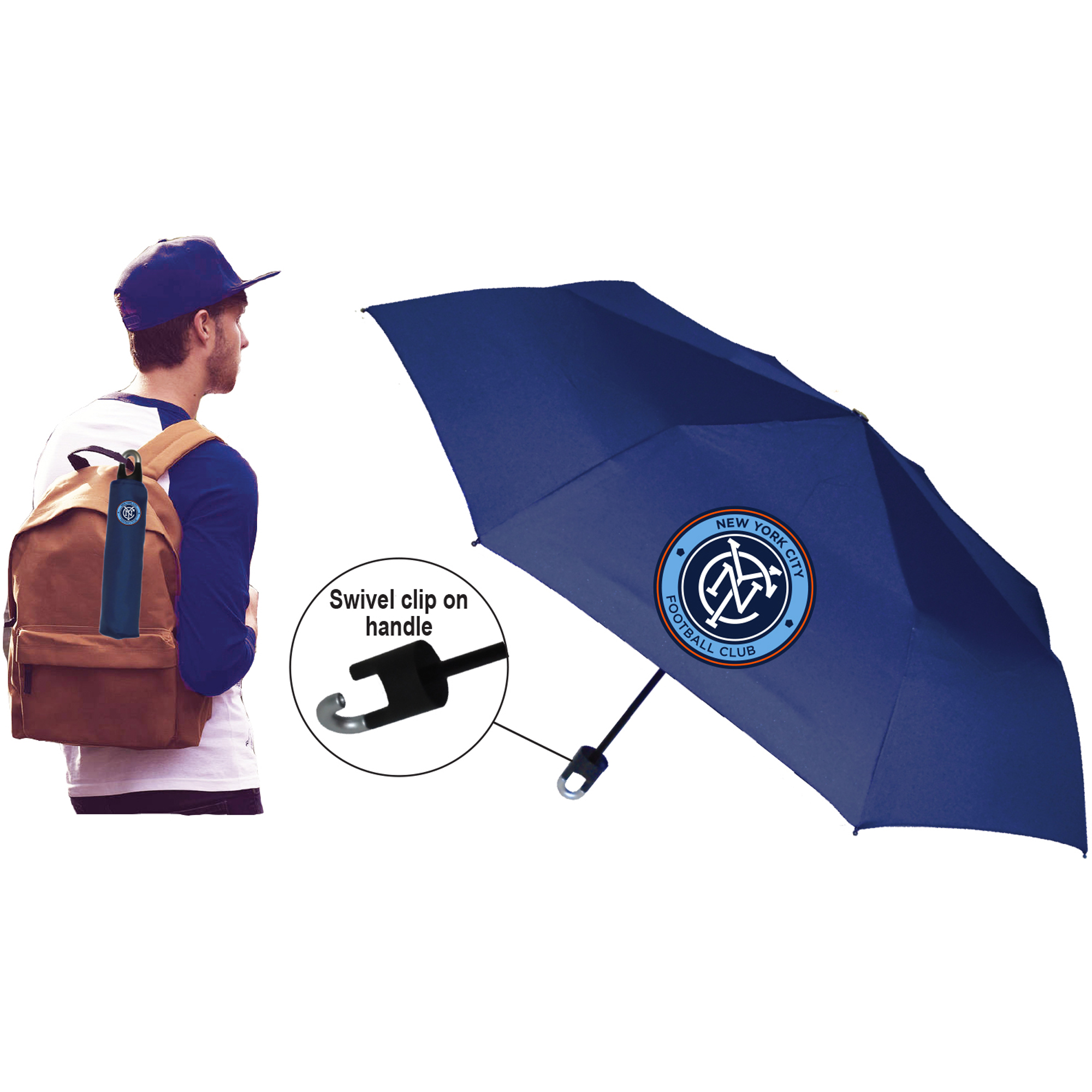 New York City FC Storm Clip Super Mini Folding Umbrella - No Size