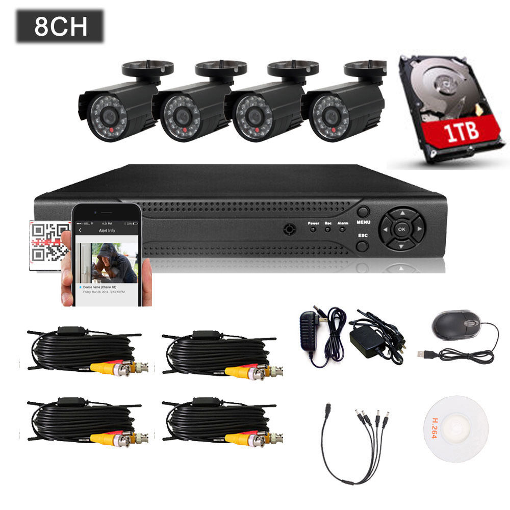 Zimtown 8CH HD 1080P DVR Surveillance CCTV Home Security Camera System with 1TB Hard Drive