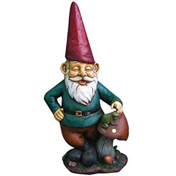 14 Garden Gnome w  Mushroom & Frog by Harmony Fountains