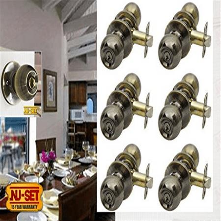 6 Pieces of Nuset Fremont(US5) Door Entry Knob Locks, Keyed Alike, Antique Brass