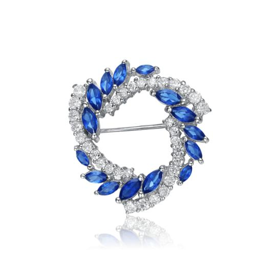Collette Z Sterling Silver Blue And White Cubic Zirconia Wreath Pin by Overstock