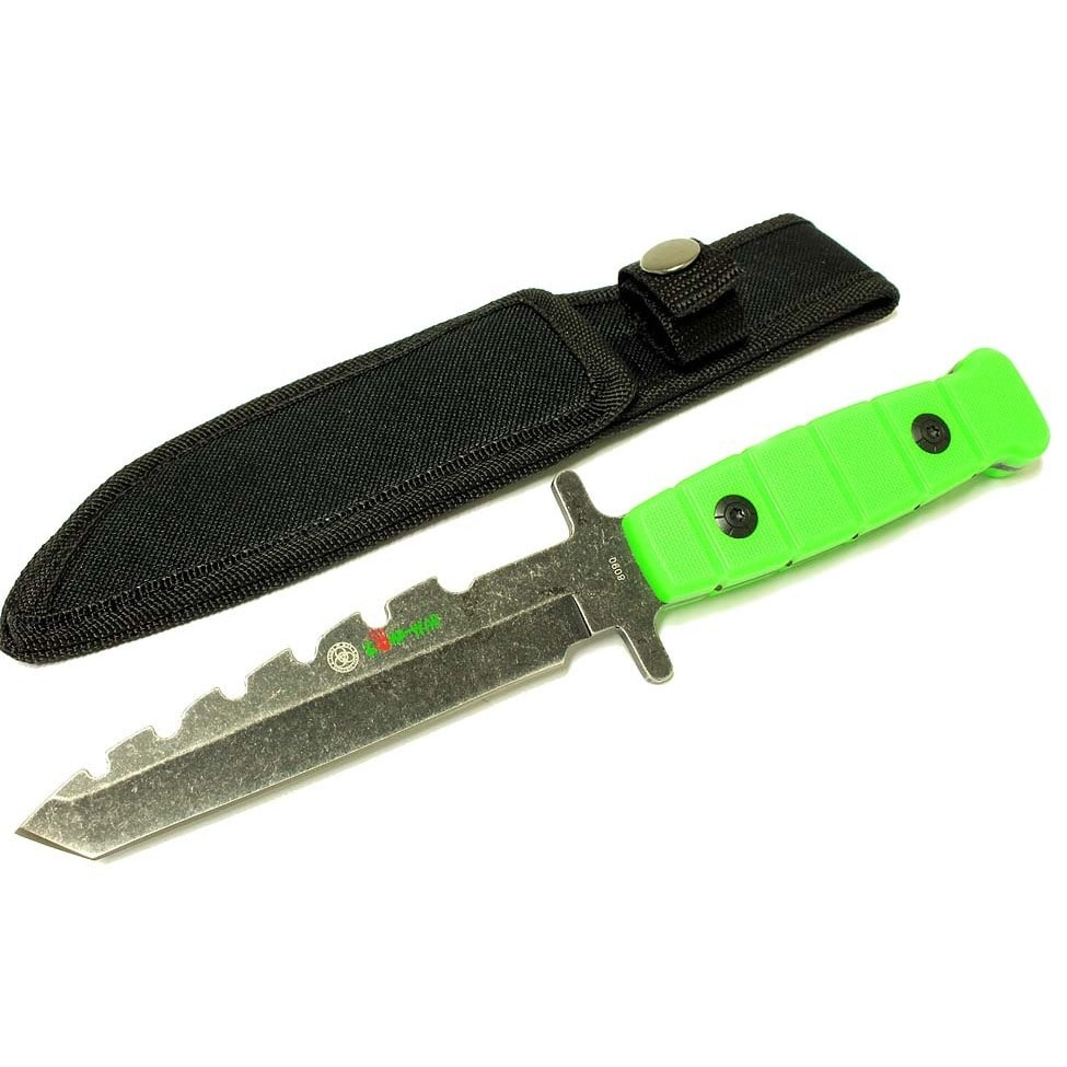 Defender Zomb-War 9-inch Green Stainless Steel Hunting Knife with Stone Washed Blade