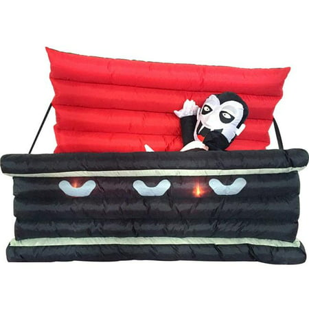 Comin DJ-WS-69020 6 ft. Vampire in a Coffin Light Up with Halloween Inflatable - Halloween Serie Coffin Box