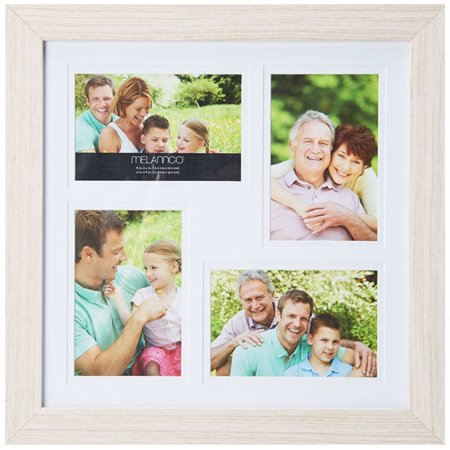 Melannco 4-Opening Natural Wood Photo Collage, Picture Frame ...