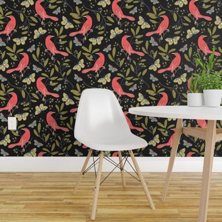 Peel-and-Stick Removable Wallpaper Animals Birds Black Red Green Air Butterfly Air Force Wallpaper