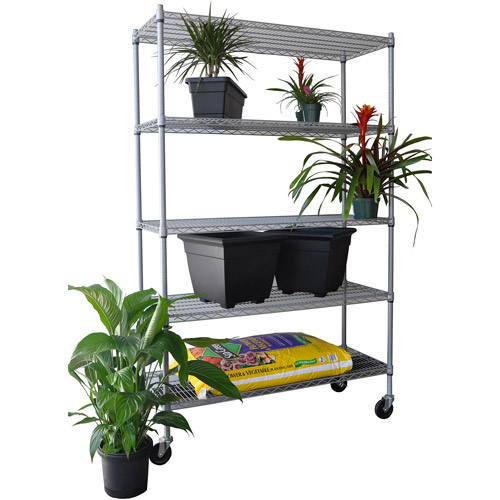 Trinity 5-Tier Outdoor Wire Shelving Rack with Wheels, Gray