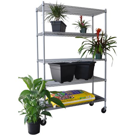 Trinity 5 Tier Outdoor Wire Shelving Rack With Wheels  Gray