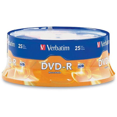 Verbatim 16x 4.7GB DVD-R Discs, 25pk