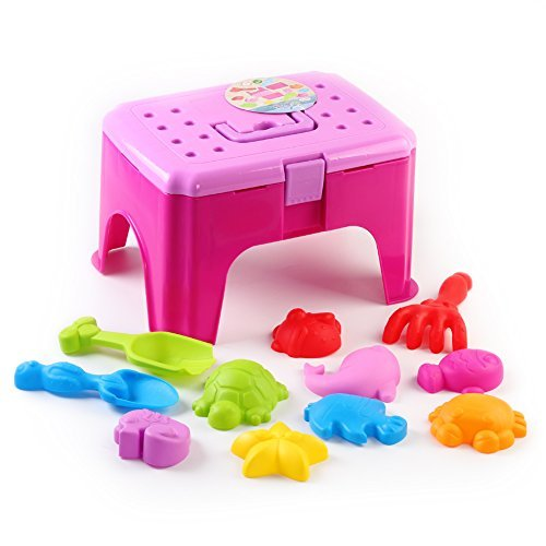 Beach Sand Toy with Chair Colorful Play Set Sand Play Tools Includes Sea Creatures Molds with Shovels and Rakes,... by Fun Little Toys